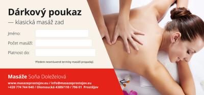 Dárkový poukaz – klasická masáž zad