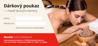 Dárkový poukaz – masáž lávovými kameny