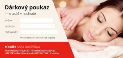 Dárkový poukaz – masáž v hodnotě